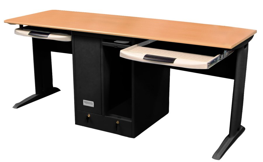 Two person computer desk pullout shelves benee 39 s furniture - Computer desk for two people ...